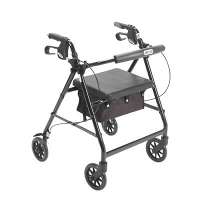 Drive Medical Black Rollator Walker with Fold Up and Removable Back Support and Padded Seat r726bk