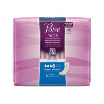 Bladder Control Pad Poise 12.4 Inch Length Moderate Absorbency Polymer Female Disposable