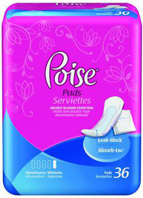 Bladder Control Pad Poise 15.6 Inch Length Light Absorbency Absorb-Loc Female Disposable