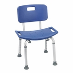 Drive Medical Blue Bathroom Safety Shower Tub Bench Chair with Back 12202kdrb-1