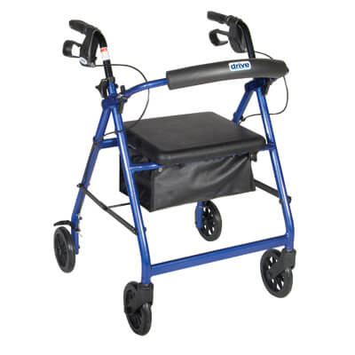Drive Medical Blue Rollator Walker with Fold Up and Removable Back Support and Padded Seat Model r726bl