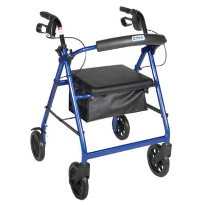 Drive Medical Blue Rollator Walker with Fold Up Removable Back Support Padded Seat Model r728bl