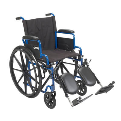 Drive Medical Blue Streak Wheelchair with Flip Back Desk Arms and Elevating Leg Rests Model bls18fbd-elr