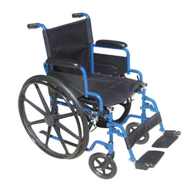 Drive Medical Blue Streak Wheelchair with Flip Back Desk Arms and Swing Away Footrest Model bls18fbd-sf