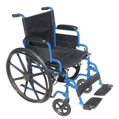 Drive Medical Blue Streak Wheelchair with Flip Back Desk Arms and Swing Away Footrest Model bls20fbd-sf