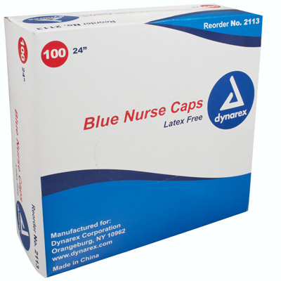 Dynarex Bouffant Cap One Size Fits Most Blue Elastic - 2113 - Case of 500