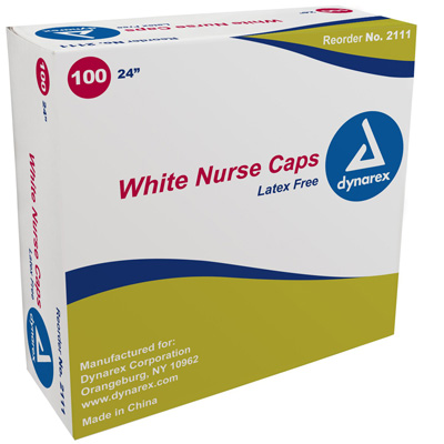 Dynarex Bouffant Cap One Size Fits Most White Elastic - 2111 - Case of 500