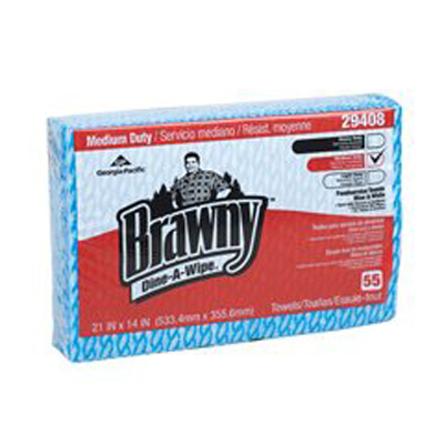 Brawny Dine-A-Wipe Foodservice Wipe Medium Duty Blue / White NonSterile Carded Rayon 14 X 21 Inch Reusable