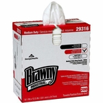 Brawny Industrial Shop Towel Medium Duty White NonSterile Cellulose / Polyester 9-1/10 X 12-1/2 Inch Reusable
