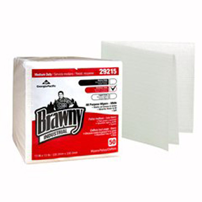 Brawny Industrial Task Wipe Medium Duty White NonSterile Airlaid Bonded Cellulose 13 X 13 Inch Reusable - Case of 800