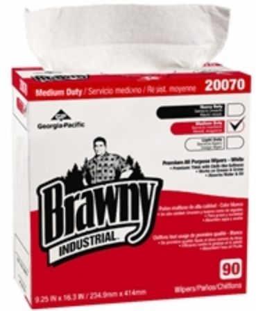Brawny Industrial Task Wipe Medium Duty White NonSterile Double Re-Creped 9-1/4 X 16-3/10 Inch Disposable - Case of 10