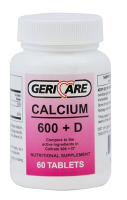 Calcium with Vitamin D Supplement Geri-Care 200 IU / 600 mg Strength Tablet 60 per Bottle