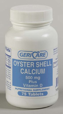 Calcium with Vitamin D Supplement Geri-Care 500 mg Strength Tablet 60 per Bottle