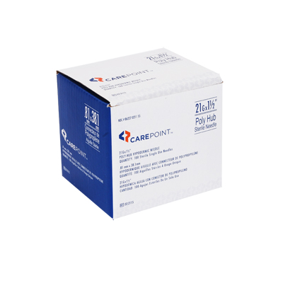 CarePoint Poly Hub Needle 21G 1 1/2 in 100 count 02-2115