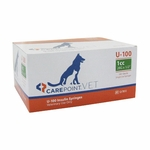 CarePoint Vet U-100 Syringes - 28 Gauge 1 cc, 1/2 in 100 count