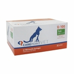 CarePoint Vet U-100 Syringes - 29 Gauge 1 cc, 1/2 in 100 count