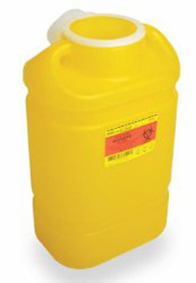 Chemotherapy Sharps Container 1-Piece 10.5 L X 7.55 W X 11.93 H Inch 3 Gallon Yellow Base