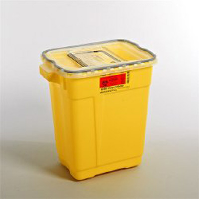 Chemotherapy Sharps Container 2-Piece 18.5H X 17.75W X 11.75D Inch 9 Gallon Yellow Base Sliding Lid