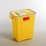 BD Chemotherapy Sharps Container 2-Piece 18.5H X 17.75W X 11.75D Inch 9 Gallon Yellow Base Sliding Lid - 305604 - Case of 8