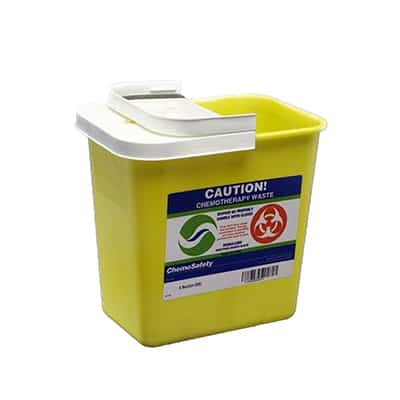 Chemotherapy Sharps Container SharpSafety 1-Piece 10H X 10.5W X 7.25D Inch 2 Gallon Yellow Base Hinged Lid