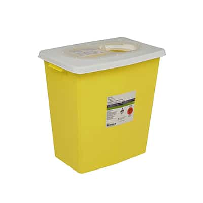 Chemotherapy Sharps Container SharpSafety 1-Piece 18.75H X 18.25W X 12.75D Inch 12 Gallon Yellow Base / White Lid Vertical Entry Sliding Lid