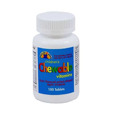 Children's Multivitamin Health Star 2500 IU / 400 IU / 60 mg Strength Chewable Tablet 100 per Bottle Fruit