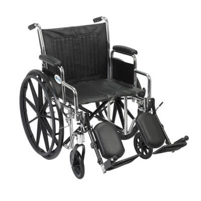 Drive Medical Chrome Sport Wheelchair with Detachable Desk Arms and Elevating Leg Rest cs20dda-elr