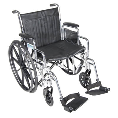 Drive Medical Chrome Sport Wheelchair with Detachable Desk Arms and Swing Away Footrest cs20dda-sf