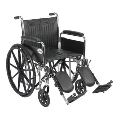 Drive Medical Chrome Sport Wheelchair with Detachable Full Arms and Elevating Leg Rest cs20dfa-elr