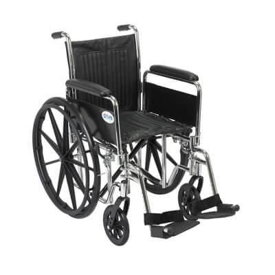 Drive Medical Chrome Sport Wheelchair with Detachable Full Arms and Swing Away Footrest cs16dfa-sf