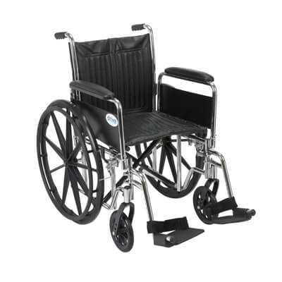 Drive Medical Chrome Sport Wheelchair with Detachable Full Arms and Swing Away Footrest cs20dfa-sf