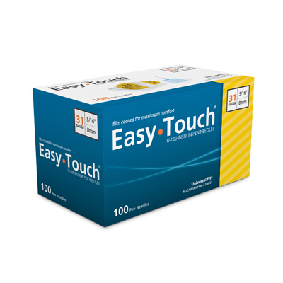 Clearance Easy Touch 31 Gauge 5/16 in Pen Needles - 100 ea - Expires 10/2019