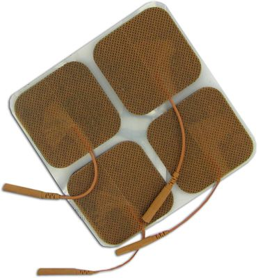 Clearance TENS Unit Electrodes 2 x 2 in Square, Tan Mesh Backed - 4 Pads Expire May 2019