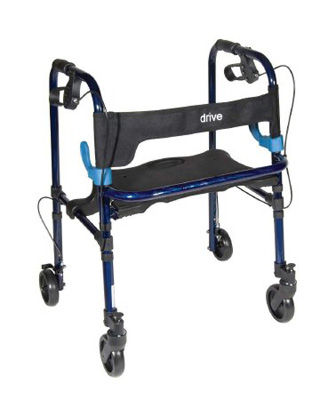 Drive Medical Clever Lite Flame Blue Rollator Walker with 5 inch Casters 10230