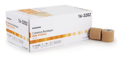 Cohesive Bandage McKesson 2 Inch X 5 Yard Standard Compression Self-adherent Closure Tan NonSterile - 16-3202
