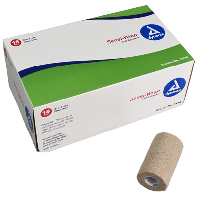 Cohesive Bandage Sensi-Wrap 4 Inch X 5 Yard Standard Compression Self-adherent Closure Tan NonSterile