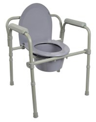 Commode Chair McKesson Fixed Arm Steel Frame Seat Lid Back 16.6 to 22.5 Inch
