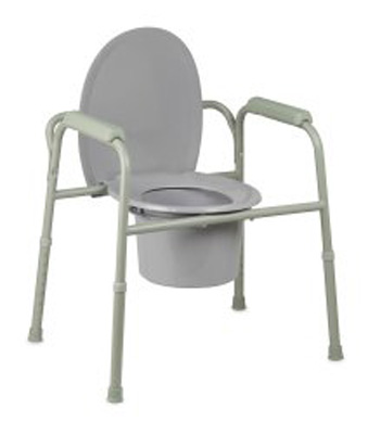 Commode Chair McKesson Fixed Arm Steel Frame Steel Back Bar / Removable / Seat Lid Back 16 to 21.75 Inch