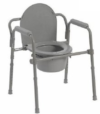 Commode Chair McKesson Fixed Arm Steel Frame Steel Back Bar / Seat Lid Back 15.5 to 21.75 Inch