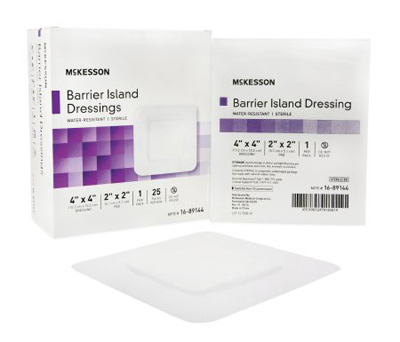 Composite Barrier Island Dressing Water Resistant McKesson 4 X 4 Inch Polypropylene / Rayon 2 X 2 Inch Pad Sterile