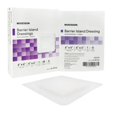 Composite Barrier Island Dressing Water Resistant McKesson 6 X 6 Inch Polypropylene / Rayon 4 X 4 Inch Pad Sterile