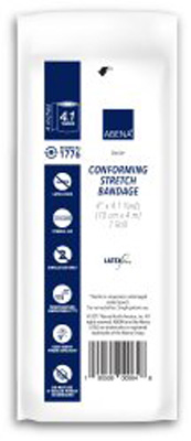 Abena Conforming Bandage 1-Ply 4 Inch X 4.1 Yard Roll Sterile - 1776 - Case of 96