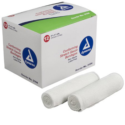 Dynarex Conforming Bandage Polyester 4 Inch X 4-1/10 Yard Roll NonSterile - Case of 96