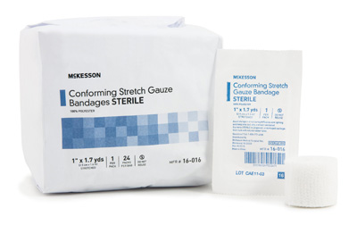 Conforming Bandage McKesson Polyester 1 Inch X 1.7 Yard Roll Sterile