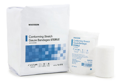 Conforming Bandage McKesson Polyester 3 Inch X 4-1/10 Yard Roll Sterile