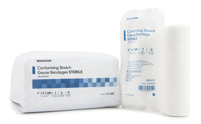 Conforming Bandage McKesson Polyester 6 Inch X 4-1/10 Yard Roll Sterile