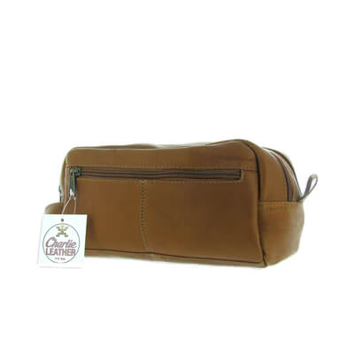 Cosmetic Bag - Tan Vintage Leather