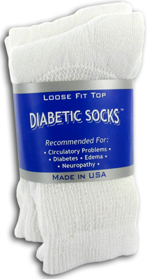 Creswell White Diabetic Crew Socks - 3 Pack