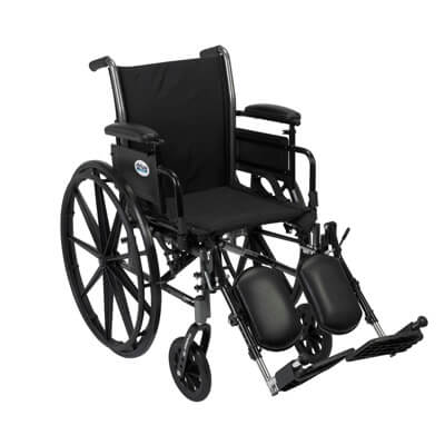 Drive Medical Cruiser III Light Weight Wheelchair with Flip Back Removable Adjustable Desk Arms and Elevating Leg Rest Model k320adda-elr
