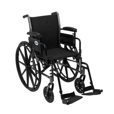 Drive Medical Cruiser III Light Weight Wheelchair with Flip Back Removable Adjustable Desk Arms and Swing Away Footrest Model k320adda-sf
